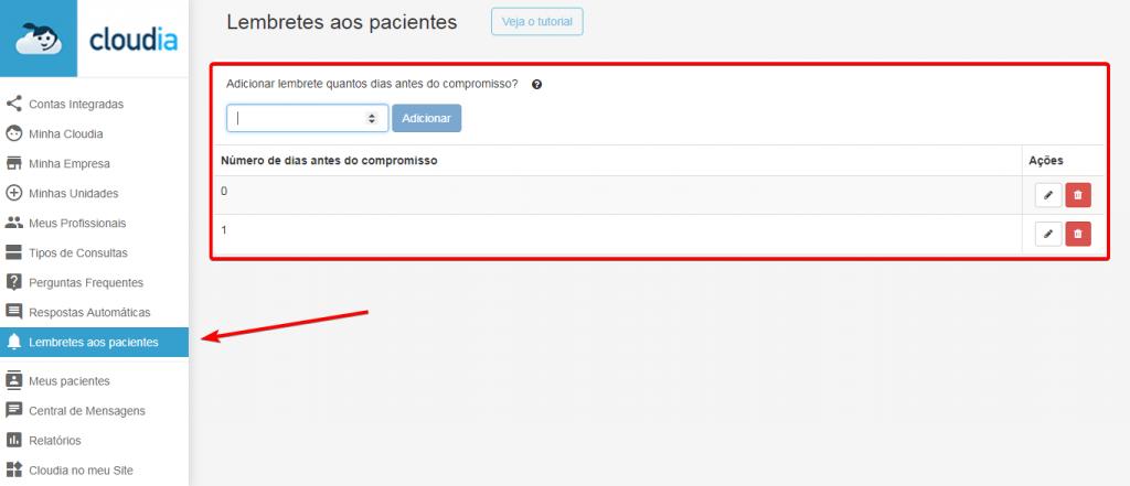 envio automatico dos lembretes das consultas via chatbot