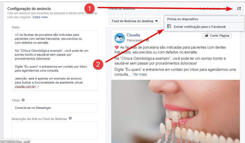 previa do anuncio pelo aplicativo do messenger