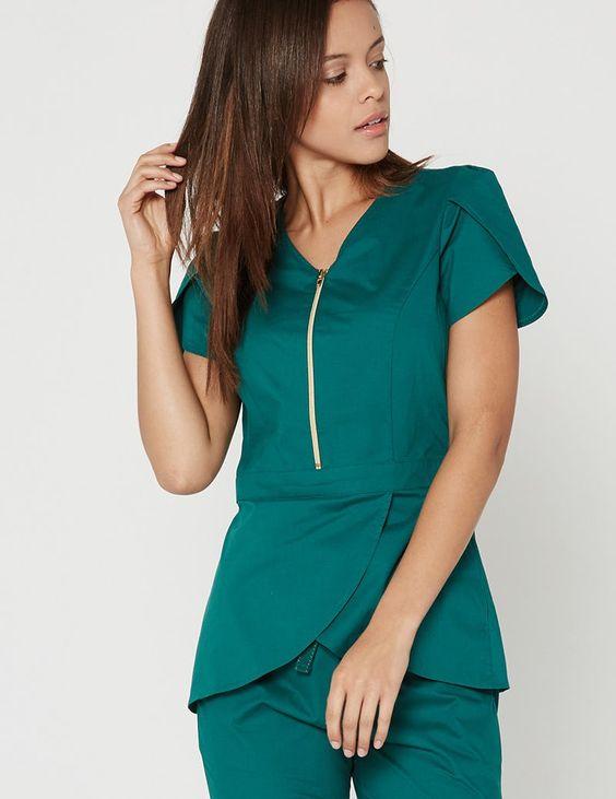 uniforme para secretária verde esmeralda